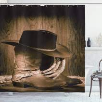 """Ambesonne Western Shower Curtain, Wild West Themed Cowboy Hat and Old Ranching Rope on Wooden Display Rodeo Cowboy Style, Cloth Fabric Bathroom Decor Set with Hooks, 84"""" Long Extra, Brown"""
