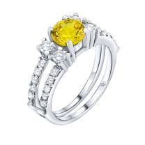 Women's Sterling Silver .925 Designer Ring Featuring a Canary Yellow 1.3 Carat Cubic Zirconia (CZ) Center Stone Surrounded by 24 Prong-Set Cubic Zirconia (CZ) Stones