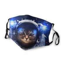 Cat Face Mask Space Galaxy Mouth Cover with Filter Washable Reusable Dustproof Face Bandana Balaclava for Men Women