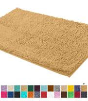 LuxUrux Bath Mat-Extra-Soft Plush Bath Shower Bathroom Rug,1'' Chenille Microfiber Material, Super Absorbent Shaggy Bath Rug. Machine Wash & Dry (24 x 39 Inch, Marzipan)