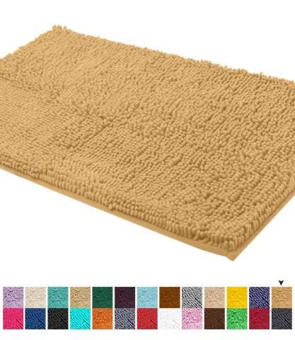 LuxUrux Bath Mat-Extra-Soft Plush Bath Shower Bathroom Rug,1/'/' Chenille Microfib