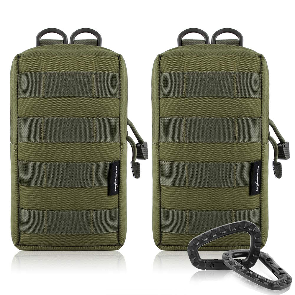 FUNANASUN 2 Pack Molle Pouches - Tactical Compact Water-Resistant EDC Utility Pouch Bags