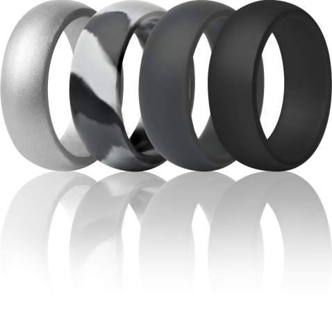 ThunderFit Silicone Wedding Rings for Men Breathable Airflow Inner Grooves 8.5mm Wide Breathable Edition Rubber Engagement Bands 2.5mm Thick