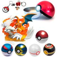 Totem World Reshiram Charizard GX Pokemon Tag Team Figure Toy with a LED or Rubber Keychain Filled in a Poke Ball Collection Ball Stocking Stuffer - Perfect for Pokemon Collectors