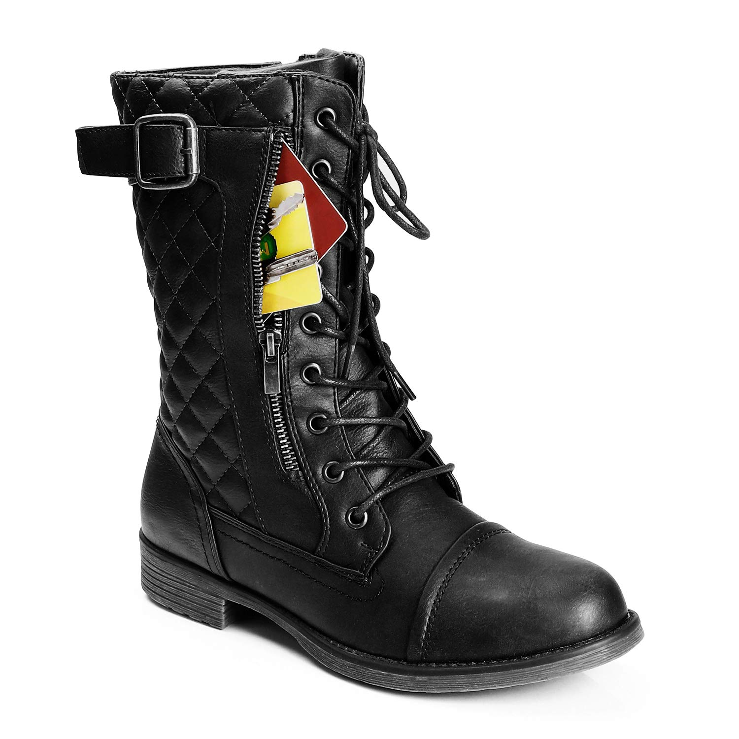 Trary Women's Winter Lace Up Mid Calf Military Combat Boots