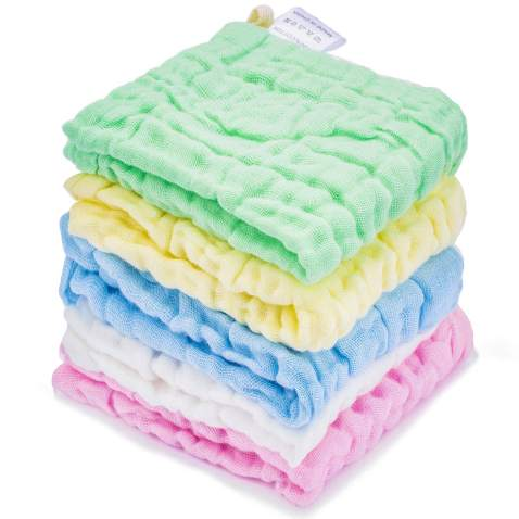 10x 10 Inches 6 Layers Bath Shower Wash Cloths with Printed Design Muslin Squares Organic 100/% Cotton Natural Baby Face Towels 5 Pack Reusable Extra Soft Newborn Baby Wipes Baby Muslin Washcloths