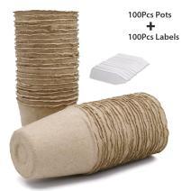 KINGLAKE 100 Pcs 3 Inch Seeds Starter Peat Pots,Transplant Seedlings Pots,Biodegradable Pots with 100 Pcs White Plastic Plant Labels