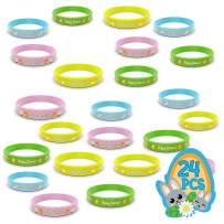 24 Easter Rubber Bracelets for Kids - Durable, Brightly Colored Silicone Bracelets Provide Hours of Fun - Motivational Rubber Wristbands are Perfect for Easter Egg Hunts and Kids Party Favors