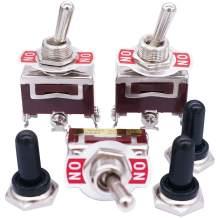 mxuteuk / 3 Pcs Heavy Duty Rocker Toggle Switch 3 Pin 2 Position ON/ON 15A 250VAC SPDT Metal Knob Cover Cap Waterproof TEN-1121