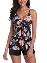 Women's Two Piece Swimsuits Tankini Swimsuits Floral Top Boyshorts Athletic Bathing Suits Tummy Control Swimwear for Women