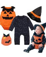 Baby Toddler Halloween Costume Pumpkin 3 Piece Long Sleeve Romper Cutie Costume for Babies