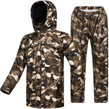 ILM Motorcycle Rain Suit Waterproof Wear Resistant 6 Pockets 2 Piece Set with Jacket and Pants Fits Men Women (Men's X-Large, Camouflage)