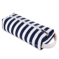JEMIA Single Compartments Collection 1 Independent Zipper Chambers with Handle Strap Pencil Case (Blue White Stripes, Canvas, Medium)