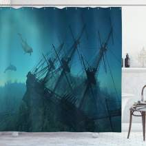 "Ambesonne Nautical Shower Curtain, Dolphins Ruined Wreckage Underwater Sunken Ship Mystery Treasure, Cloth Fabric Bathroom Decor Set with Hooks, 70"" Long, Dark Teal"