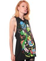Women's Alice in Wonderland Psychedelic Cotton Tunic Top - Exclusive Artwork