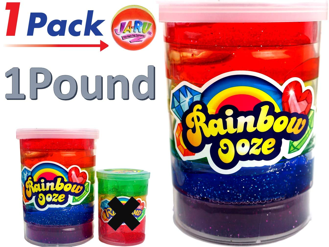 JA-RU Mega Rainbow Slime Kit 1 Pound Neon Glitter Colors (1 Unit) Unicorn Party Girls Game. Slime Squishy and Stretchy. Arts and Crafts for Girls Party Favor Toy Supplies | Item #4636-1p