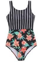 ZINPRETTY Women Athletic One Piece Bathing Suit High Waisted Swimsuit Striped High Cut Sports Swimwear