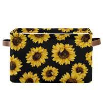 Rectangular Storage Bin Beautiful Sunflowers Basket with Handles - Nursery Storage, Laundry Hamper, Book Bag, Gift Baskets