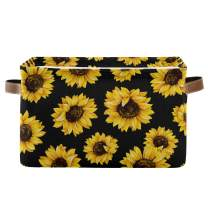 Rectangular Storage Bin Beautiful Sunflowers Basket with Handles - Nursery Storage, Laundry Hamper, Book Bag, Gift Baskets