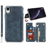 """Jaorty for iPhone XR Luxury PU Leather Case,2 Magnetic Buttons,Card Cash Slots,Stand Function Soft TPU Back Wallet Case Flip Wrist Strap Multi-Function Case for iPhone XR 6.1"""",Blue"""