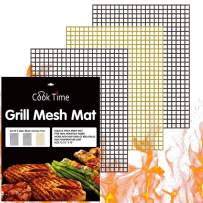BBQ Grill Mesh Mat Set of 3 - Non Stick Barbecue Grill Sheet Liners Teflon Grilling Mats Nonstick Fish Vegetable Smoking Accessories - Works on Smoker,Pellet,Gas, Charcoal Grill,15.75x13inches