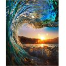 LICSE DIY Oil Painting Paint by Number Sunset Wave Seascape for Adults 16x20 inch