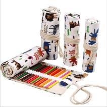 iDili 48 Holes Canvas Roll Up Pencil Bag Organizer Color Pen Curtain Case Makeup Wrap Holder Storage Pouch School Supplies (48 Slots, Zoo)