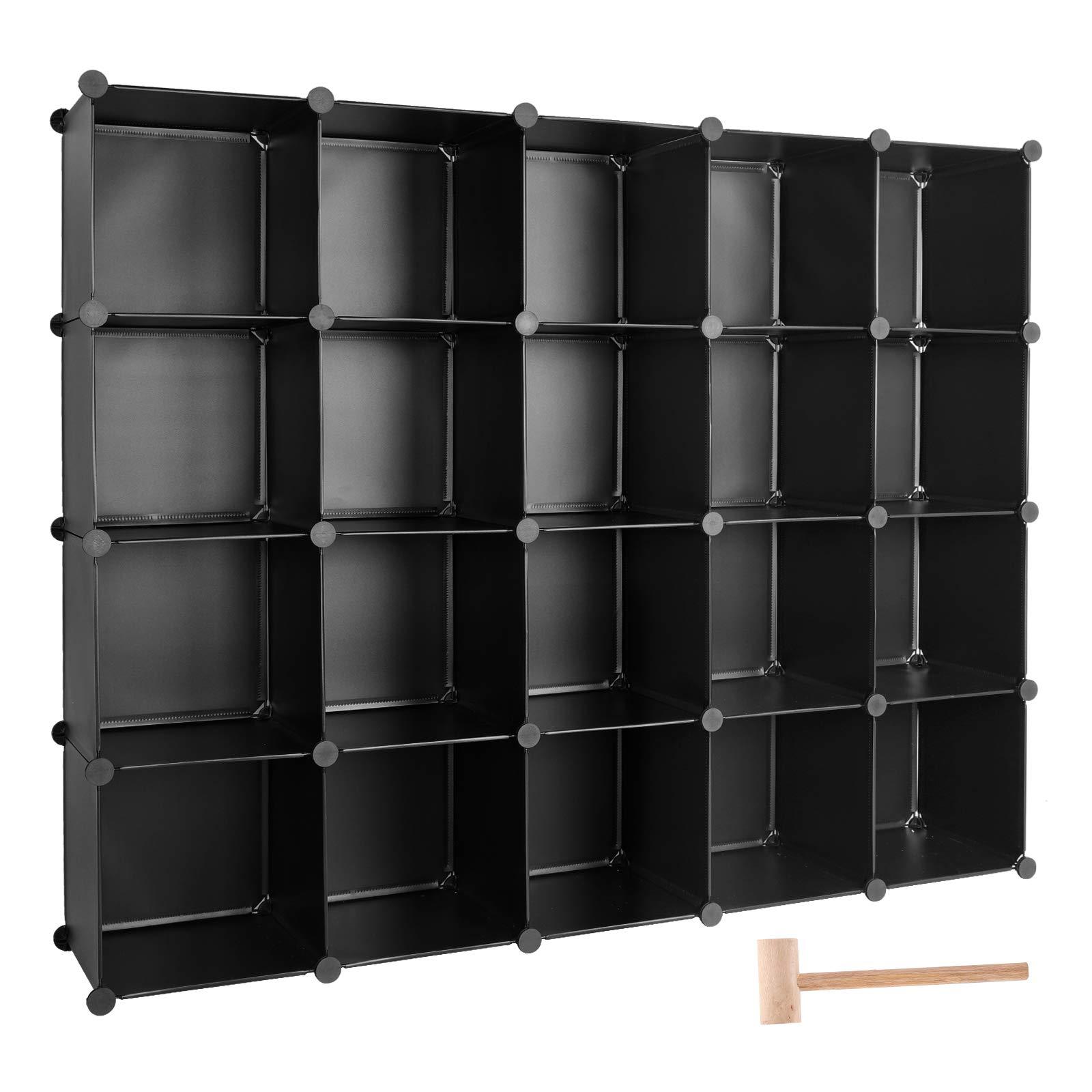 TUMUCUTE Cube Storage Organizer, 20-Cube DIY Plastic Closet Cabinet Modular Bookcase, Storage Shelves for Bedroom Living Room, Office, Black