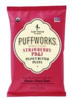 Puffworks Organic Peanut Butter Puffs, Strawberry PB&J | USDA-Organic | Gluten-Free | Vegan | Non-GMO | Kosher | Healthy Plant-Based Protein Snacks 3.5 oz (Pack of 3)