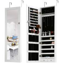 """FDW Jewelry Cabinet 47.3"""" H Wall/Door Mounted Lockable Jewelry Armoire with 2 Drawers 6 Shelves 43.3""""×10.6"""" Mirror High Capacity Jewelry Organizer, White"""