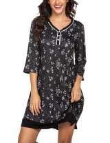 Ekouaer Sleepwear Women's Nightgown Print Sleep Dress 3/4 Sleeve Button-up Nightwear S-XXL