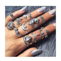 Fstrend Boho Joint Knuckle Rings Set Silver Rhinestones Vintage Stackable Finger Ring Set Hollow Carved Flower Midi Hand Jewelry for Women and Girls(14PCS)