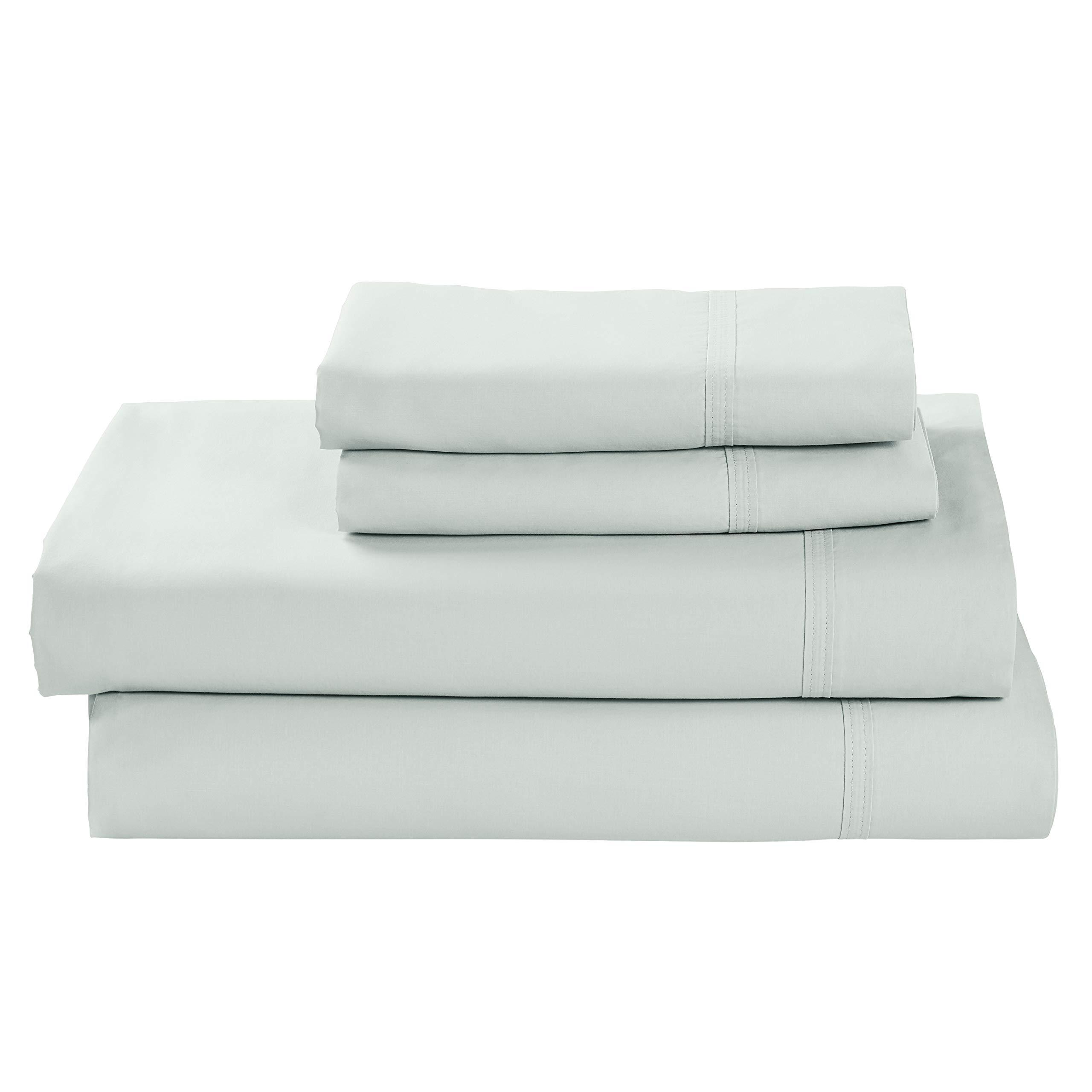 Amazon Brand – Rivet Percale 100% Organic Cotton Bed Sheet Set, Easy Care, California King, Mint