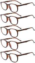 Eyekepper 5-Pack Spring Hinges 80's Classic Reading Glasses Tortoise +2.25