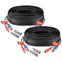 ZOSI 2 Pack 20M/65ft BNC Video Power Cable Security Camera Wire Cord for CCTV DVR Surveillance System, Support 720P 1080P 2MP 3MP 4MP 5MP 8MP 4K Resolution (2-Pack, Black)