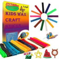 500 Piece Pack Kids Wax Craft Sticks-13 Colors,Non-Toxic Wax Stix,Kid Bendable Wax Sticks,Kid Art Supplies,Perfect Toys for Home and Travel, Activity Set
