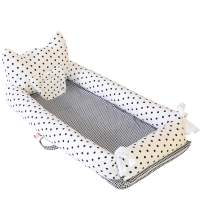 Abreeze Baby Bassinet for Bed -Polka Dot-White Baby Lounger - Breathable & Hypoallergenic Co-Sleeping Baby Bed - 100% Cotton Portable Crib for Bedroom/Travel/Camping