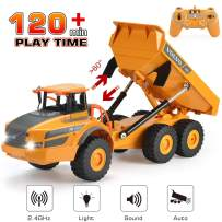 Volvo RC Truck Dump Truck RC Articulated Hauler with Rechargeable Battery 120 Min Play Time RC Toy Consruction Truck for All Adults & Kids