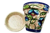 Cactus Canyon Ceramics Spanish Hand-Painted Flower Pot and Saucer, Blue Corazon Design