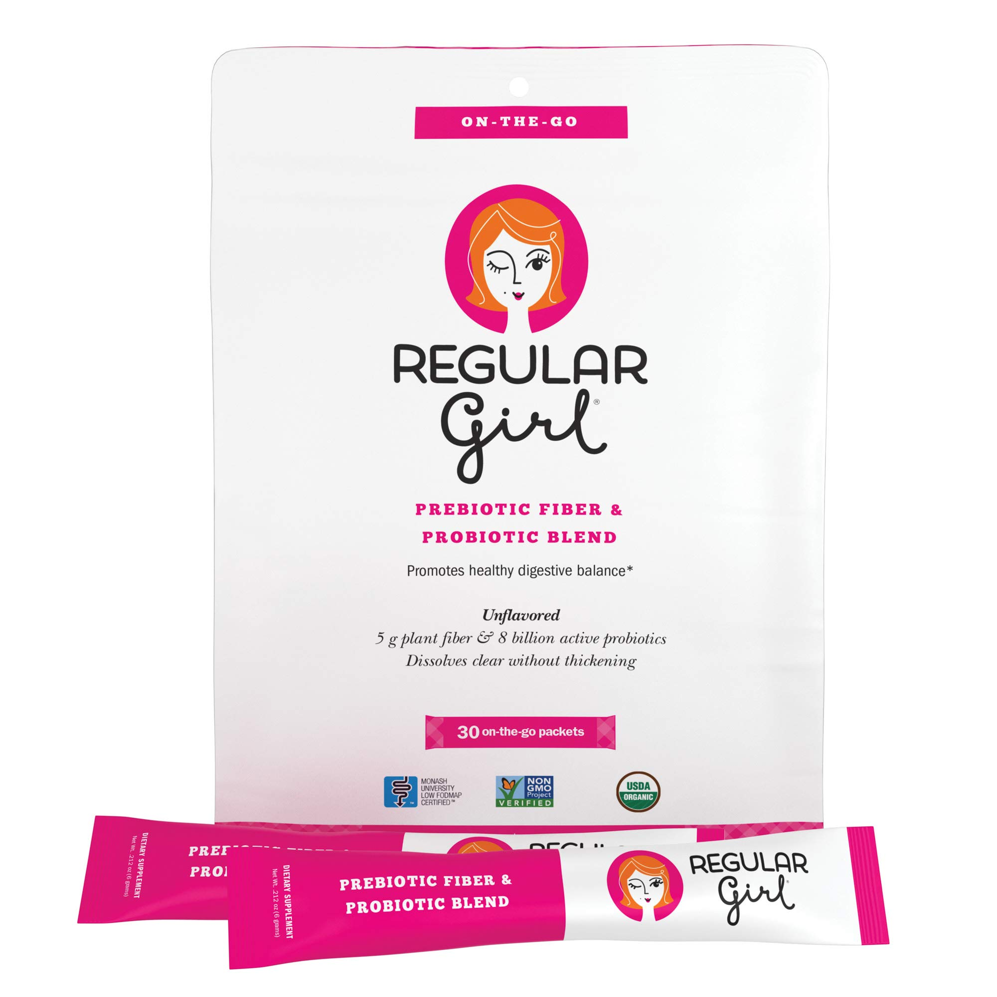 Regular Girl - Organic On The Go Powder, Low FODMAP Prebiotic Guar Fiber and Probiotic Support for Comfortable Digestion, 30 Packets