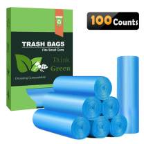 Small Trash Bags 4-6 Gallon Biodegradable Garbage Bags,Unscented Leak Proof Compostable Bags Wastebasket Liners for Office,Home,Bathroom, Bedroom,Car,Kitchen,Pet (100 Counts, Blue)