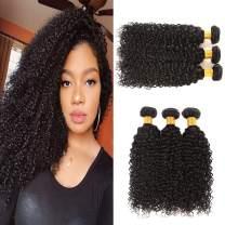 Huarisi Brazilian Kinky Curly Hair Bundles 10a Grade Virgin Hair Curly Weaves 100% Unprocessed Real Human Hair 22 24 26 Inches Natural Black Color