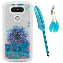 LG G5 Case, Liquid Glitter Case Bling Sparkle Shiny Flowing Moving Love Hearts Cover Clear Ultra Slim Protective TPU Bumper for LG G5 with Stylus Pen Plug Dust ZSTVIVA - Blue Mandala Totem Flower