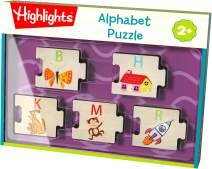 HABA Highlights Alphabet Puzzle - 26 Interchangeable Wooden Pieces with Uppercase Letter and Matching Picture on Each Piece