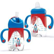 2 In 1 Sippy Cups for Toddlers with Spout & Straw, 2PCS Weighted Straw, Spill Proof Baby Trainer Leaner Transition Cups with Handles Sippy Cups for Baby 6 12 Months, 8 Ounce (One Cup with 2 Nipples)