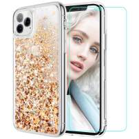 Maxdara for iPhone 11 Pro Case, iPhone 11 Pro Glitter Case with Screen Protector, Liquid Bling Shiny Sparkle Luxury Pretty Girls Women Phone Case for iPhone 11 Pro 5.8 inches (Gold Silver)