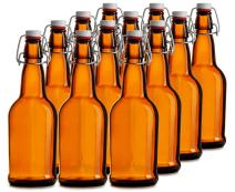 North Mountain Supply 16 oz Amber Glass Grolsch-Style Beer Brewing Fermenting Bottles - With Ceramic Swing Top Caps - Case of 12