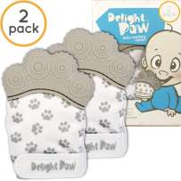 Delight Paw Baby Teething Mitten Mom Designed | Self Soothing Pain Relief | Hygienic Travel Bag | No BPA | Like Munch Mitt | Baby Boy Baby Girl | Babies 0-12 Months | Gleeful Gray | 2 Pack