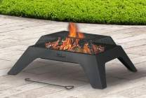 """Artestia 28"""" Square Metal Firepit in Black High Heat Resistant Powder Coating, Perfect for Outdoor Wood Burning Bonfire, use in Yard, Patio, Camping, Poolside"""