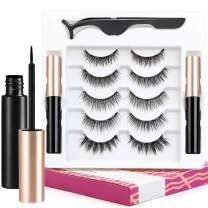 Magnetic Eyelashes with Eyeliner Kit, 5 Pairs Reusable Magnetic Eyelashes and 2 Tubes of Magnetic Eyeliner With Tweezers Magnetic False Lashes Set Natural Look - No Glue Needed